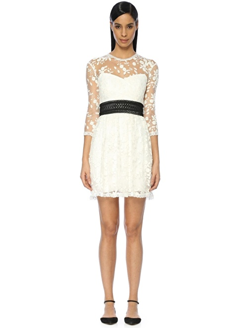 Floor Mini Abiye Elbise Beyaz